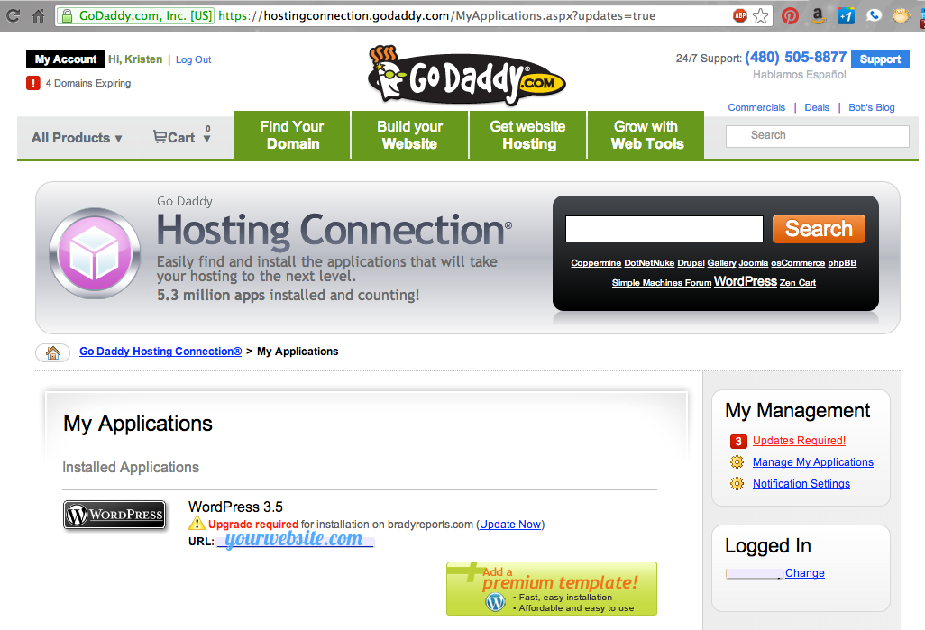 back up wordpress site before upgrading with godaddy