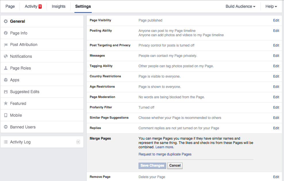 merge facebook fan pages