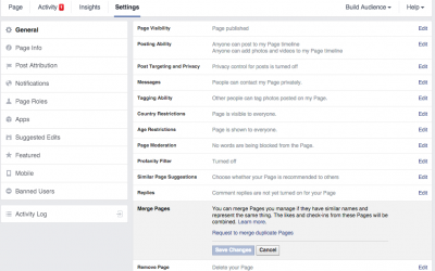 How to merge two or more fan pages on Facebook